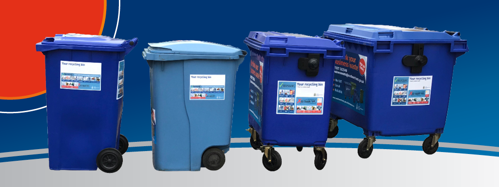 4 commercial recycling bins of different sizes